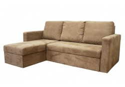 Linden Sectional Sofa Bed with Chase Storage in Tan