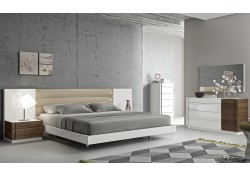 Lisbon Contemporary White Lacquer Wood Bedroom Set
