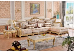 695 Lorenzo Sectional Sofa Gold Finish Wood Trim