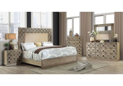 Markos Bedroom Set in Weathered Light Oak and Beige