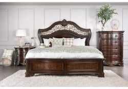 Menodora Traditional Bedroom Set in Cherry with Marble Tops