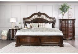 Menodora Bedroom Set in Cherry with Marble Tops