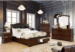 Merida Bedroom Set in Brown Cherry with Storage Bed