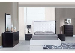 Metro Wenge Bedroom Set and White Leather Bed