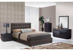 Metro Wenge Bedroom Set and Chocolate Leather Bed