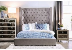Mirabelle Platform Bed Set in Gray with Tall Headboard