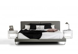 Modrest Ramona Contemporary Bed in Grey Leather
