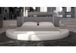 Rotondo Modern Round Bed in White Leather LED Lights