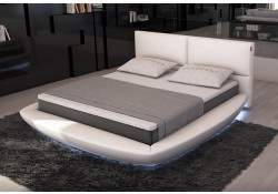 Sferico Round Bed in White Leather and LED Lights
