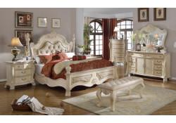 Monaco Antique White Marble Tops Bedroom Set
