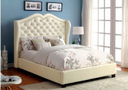 Monroe Platform Bed in Ivory Upholstery
