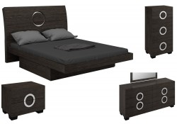 Monte Carlo Modern Bedroom Set in Grey Lacquer Finish