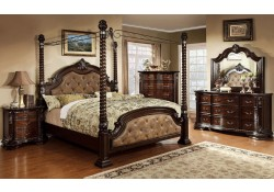 Monte Vista II Canopy Bedroom Set in Cherry and Brown