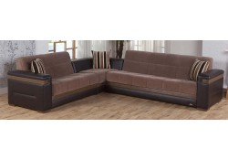 Moon Sectional Sofa Bed in Troya Brown Fabric