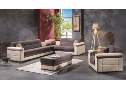 Moon Sectional Sofa Bed in Zigana Gray Fabric