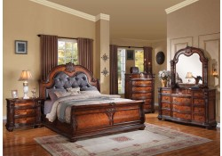 Nathaneal Sleigh Bedroom Set Traditional Cherry Finish