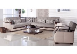 Natural Sectional Sofa Bed in Valencia Gray Fabric