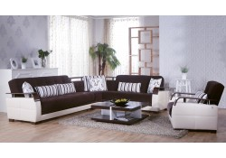 Natural Sectional Sofa Bed in Colins Brown Fabric