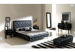 Nelly Contemporary Bedroom Set in Black Finish by Dupen
