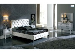 Nelly Contemporary Bedroom Set in White Leather by Dupen