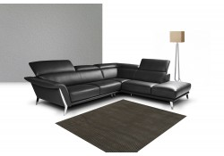 Nicoletti Heni Sectional Sofa in Black Full Italian Leather