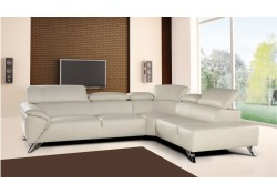 Tesla Sectional Sofa in Ivory Italian Leather by Nicoletti