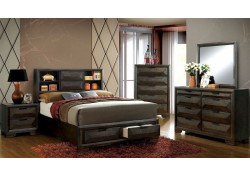 Nikomedes Bedroom Set in Espresso with Bookcase Headboard
