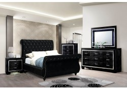 Noella Sleigh Bedroom Set in Black