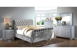 Noella Sleigh Bedroom Set in Gray