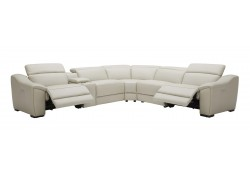 Nova Sectional Sofa in Silver Grey Leather with Recliners