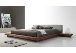 Opal Modern Platform Bed in Walnut and Grey