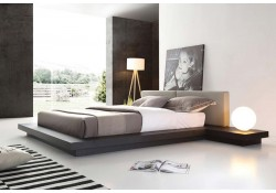 Opal Modern Platform Bed in Wenge and Grey