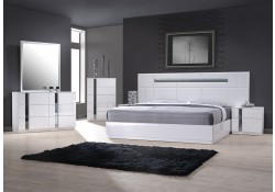 Palermo Modern Bedroom Set in White Lacquer and LED Lights