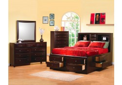Phoenix Storage Bedroom Set in Cappuccino Finish Solid Wood