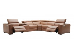 Picasso Sectional Sofa in Caramel Leather with Recliners