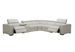 Picasso Sectional Sofa in Silver Grey Leather with Recliners