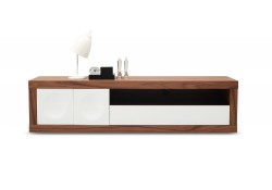 Prato TV Stand in Walnut Wood and White Finish