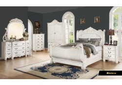 Riviera Sleigh Bedroom Set in White Classic Finish