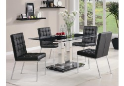 Rolien Modern 12mm Tempered Glass Chrome Metal Base Dining Set