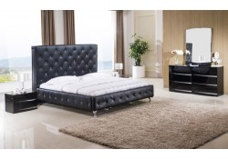 Rome Black Modern Bedroom Set with Black Bed