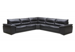 J&M Furniture Romeo Sectional Sofa in Black Leather