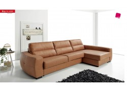 Roy Sectional Sofa Sleeper in Full Brown Leather