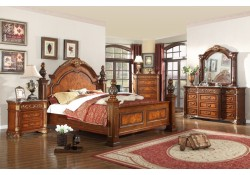 Royal Panel Marble Top Bedroom Set Meridian Furniture