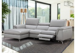 Serena Power Reclining Sectional Sofa in Grey Leather