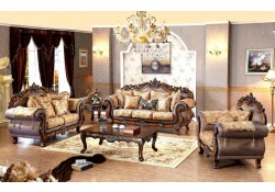 Seville 693 Living Room Set in Fabric and Cherry Finish