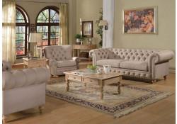 Shantoria Living Room Set in Beige Linen Fabric