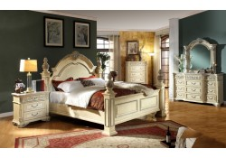 Sienna Panel Bedroom Set in Antique White Finish