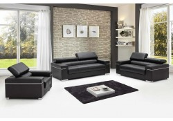 Soho Modern Living Room Set in Black Leather
