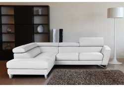 Sparta Full Italian Leather Sectional Sofa in White Color