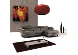 Nicoletti Sparta Mini Sectional Sofa in Dark Grey Leather